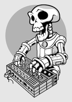 Illustrazione disegnata a mano di skull dj