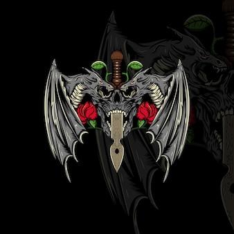Illustrazione di teschio, drago, spada e fiore