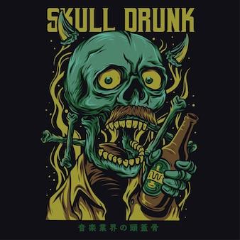 Illustrazione divertente del fumetto ubriaco cranio
