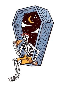 Cranio che mangia l'illustrazione della fetta della pizza