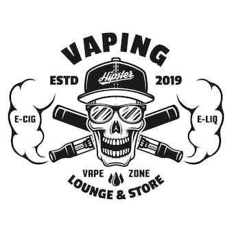 Teschio e sigarette elettroniche con emblema monocromatico a vapore, distintivo, etichetta o logo isolato su sfondo bianco