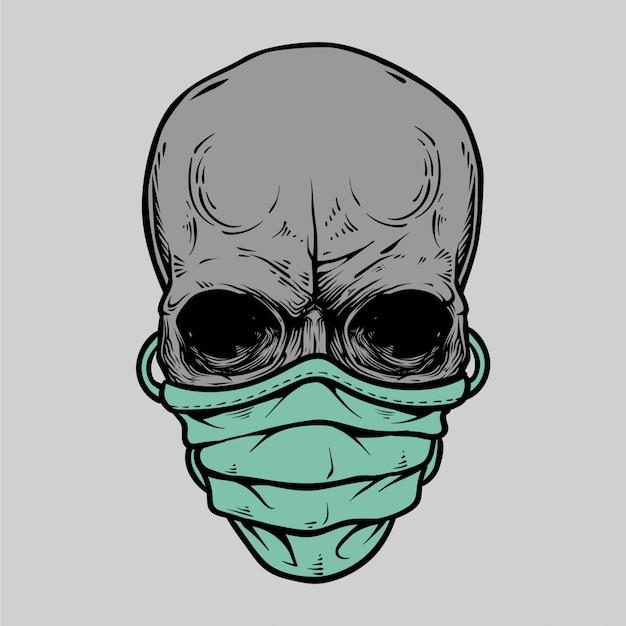 Fronte del cranio nell'illustrazione medica della maschera