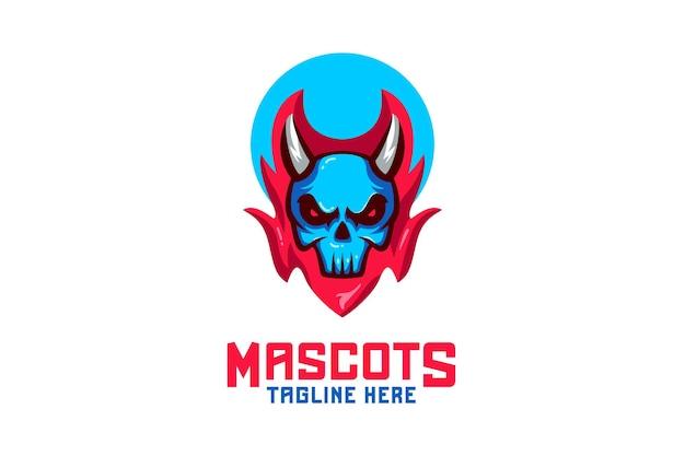Logo della mascotte del fuoco del teschio
