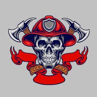Cranio nel cappello da pompiere