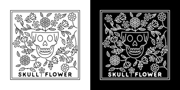 Skull flower monoline badge design