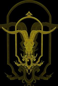 Illustrazione dell'opera d'arte dell'ornamento e della capra del cranio