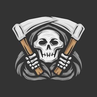 Cranio triste mietitore con il logo della falce illustrazione vettoriale