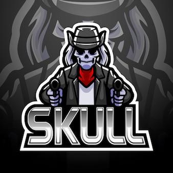 Design del logo di teschio pistola esport