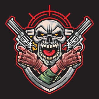Skull gunner esport logo illustrazione