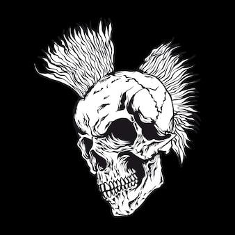 Illustrazione vettoriale di teschio capelli punk