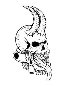 Illustrazione di schizzo disegnato a mano del teschio stampa vintage del tatuaggio