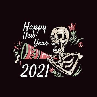 Cranio felice anno nuovo illustrazione