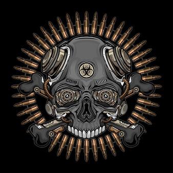 Testa di cranio e proiettili