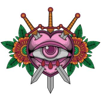 Tatuaggio fiore testa di teschio