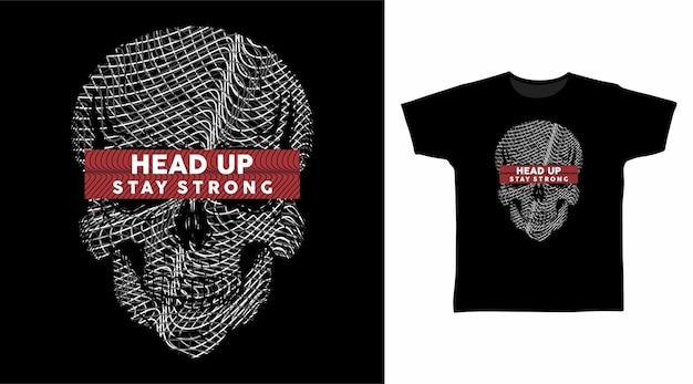 Arte della linea grigia testa di teschio per il design della maglietta