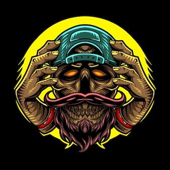 Disegno della mascotte della testa del cranio