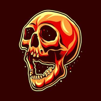 Illustrazione del materiale illustrativo dell'illustrazione di horror della bocca aperta della testa del cranio