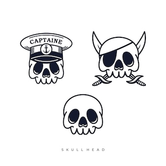 Illustrazioni di cartoni animati di pirati con testa di teschio