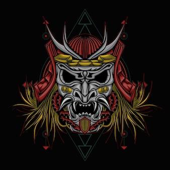 Illustrazione del samurai della testa del cranio con geometric