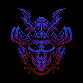 Samurai della testa del cranio isolato sul nero
