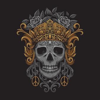 Testa di teschio che indossa una corona con ornamenti giavanesi intagliati
