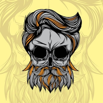 Testa di cranio con illustrazione vettoriale della barba hipster