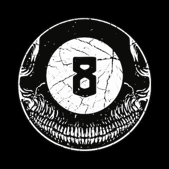 Skull horror eight ball illustration art design