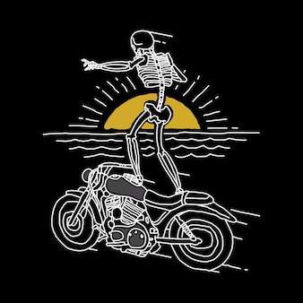 Skull horror funny rider illustration art design