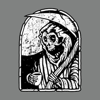 Skull horror grim reaper drink coffee illustration art design