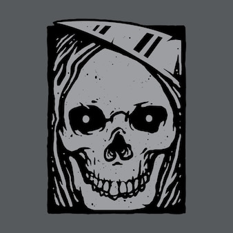 Skull horror grim reaper illustration art design