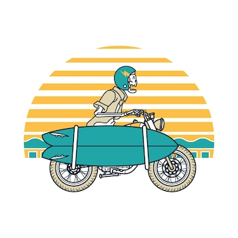 Skull horror ride surf illustration art design