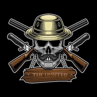 Concetto di design del logo del cacciatore di teschi
