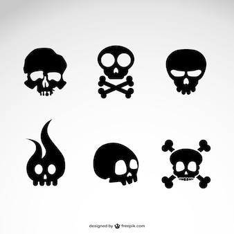 Vettore cranio icone set