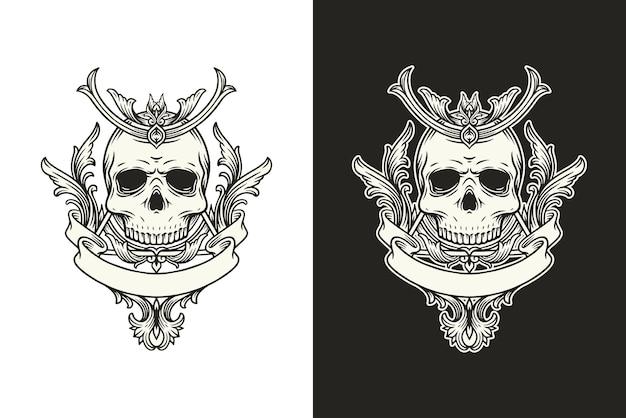 Illustrazione del cranio, teschio bianco e nero e corno con illustrazione floreale vintage