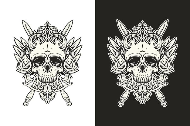 Illustrazione del cranio, teschio in bianco e nero e spade con illustrazione floreale vintage