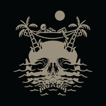 Skull island relax chill out illustration
