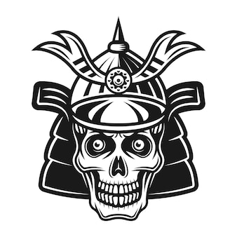 Cranio in giapponese samurai casco vettoriale illustrazione monocromatica isolato su sfondo bianco