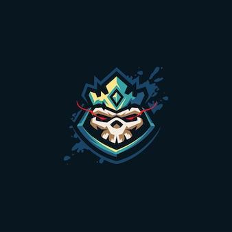 Modello di logo di gioco del re del teschio