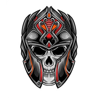 Skull knight warrior head vector