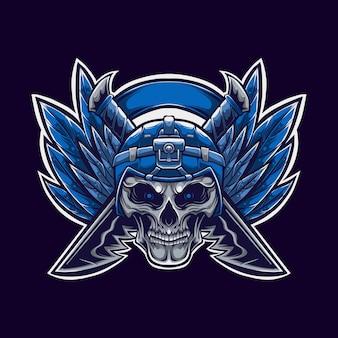 Illustrazione del logo della mascotte del cranio e dei coltelli