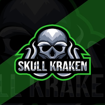 Cranio kraken modello di logo della mascotte