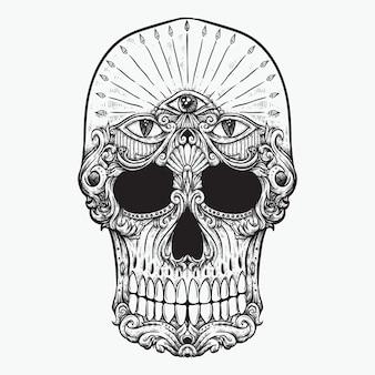 Teschio linea arte tre occhi sulla fronte disegno floreale vettoriale