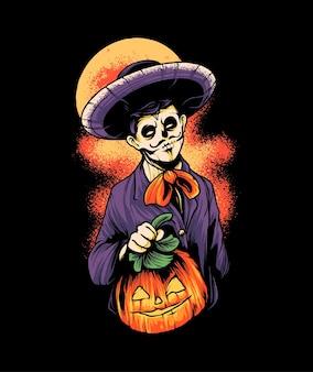 Illustrazione della maglietta di dia de muertos dell'uomo del teschio vettore premium