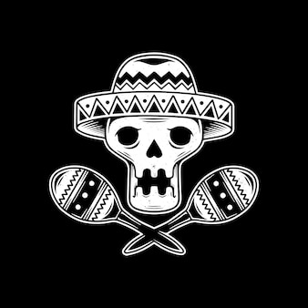 Teschio mariachi design messicano