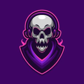 Modello di logo di gioco di e-sport della mascotte del cranio