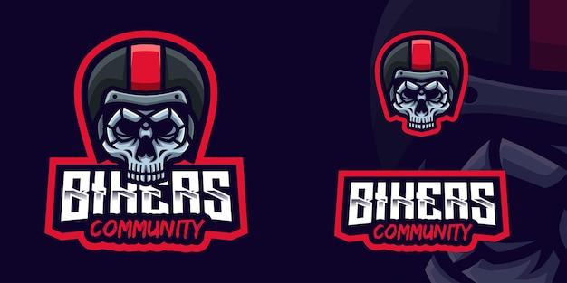 Logo della mascotte del teschio per la comunità dei motociclisti
