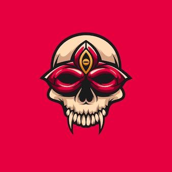 Disegno della mascotte del fiore della maschera del cranio