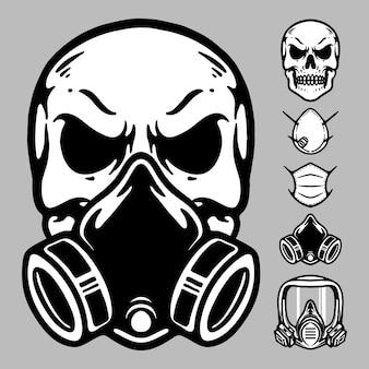 Illustrazione grafica maschera teschio