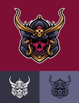 Maschera teschio samurai logo illustrazione