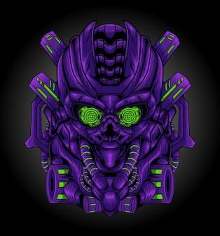 Illustrazione della mascotte del robot di guerra del mecha del cranio